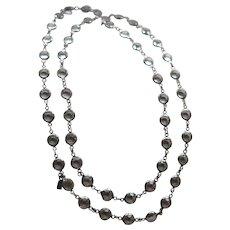Vintage Silver Plate Signed Swarovski Clear Crystal Bezel Necklace
