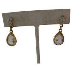 Vintage Gold Plate Signed Swarovski Crystal Earrings