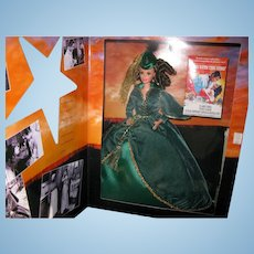 Gone With the Wind Hollywood Legends Scarlett O'Hara Barbie in Green Drapery Dress ~ NRFB
