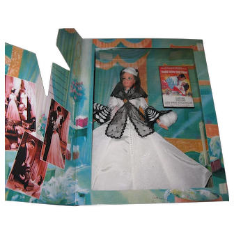 """Scarlett O""""Hara Barbie in Gone With the Wind White Gown from Mattel's Hollywood Legends Collections ~ NRFB"""