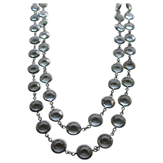 Extra Long Signed Swarovski Clear Crystal Bezel Necklace in Silver Plate ~ Large Crystals