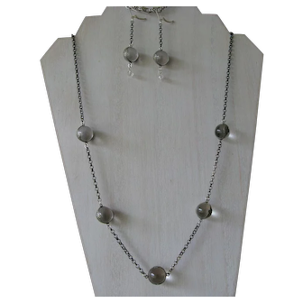 Natural Quartz Rock Crystal Pools of Light Sterling Necklace and Earring Set