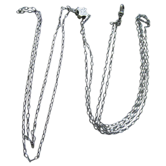 """LOOOONG 50"""" Antique Sterling Silver Slide Chain Necklace"""