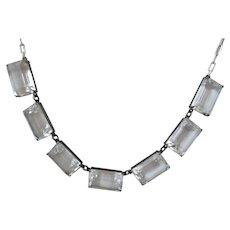Art Deco Silver  Clear Quartz Rock Crystal Bezel Necklace