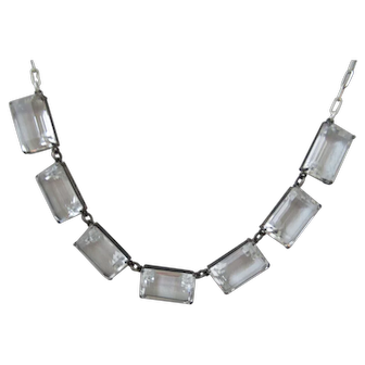Art Deco Silver  Clear Quartz Rock Crystal Bezel Necklace
