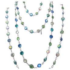 Vintage 1980's signed Swarovski Aurora Borealis Crystal Silver Plate Bezel Necklace