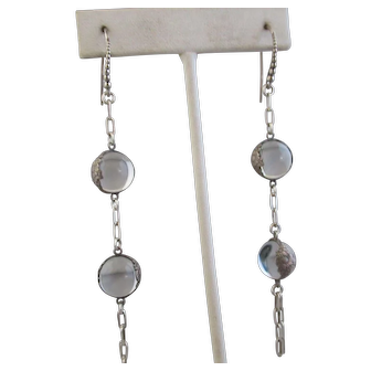 Long Natural Quartz Rock Crystal Pools of Light Sterling Earrings