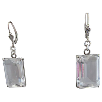 Vintage Art Deco Natural Quartz Rock Crystal Sterling Silver Earrings
