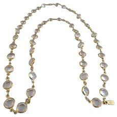 Vintage Swarovski Swan Signed Gold Plated Clear Crystal Bezel Necklace