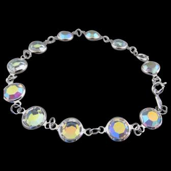 Super Shiney Aurora Borealis Signed Swarovski Crystal Bezel Bracelet