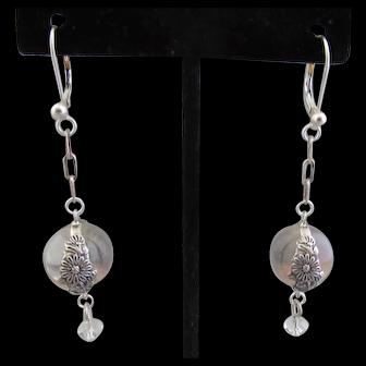Lovely Natural Quartz Rock Crystal Pools of Light Sterling Earrings