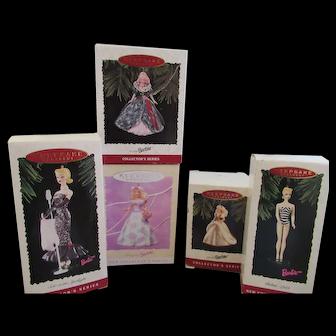 Five Hallmark Barbie Ornaments in Boxes