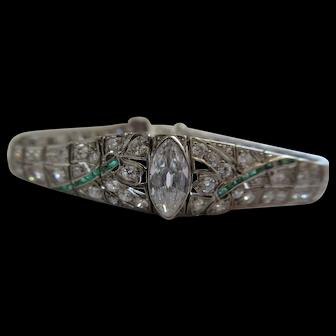 Antique Diamond Platinum Emerald Bracelet