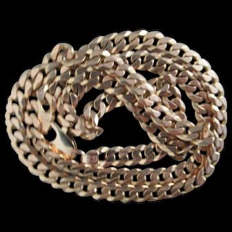 "Vintage Solid 14Kt. Gold Curb Necklace ~ 24"" X 1/4"""
