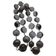 Art Deco Natural Quartz Rock Crystal Pools of Light Long Necklace