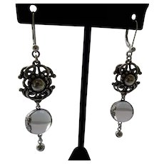 Sterling Silver Floral Repousse Pools of Light Earrings