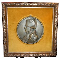 Bronze Plaque of Napoleon, Mounted and Framed