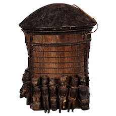 Sacred Rice Basket Dayak Borneo with 12 Hampatong Figures