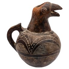 Vintage Lozi Terracotta Parrot Water Pitcher, West Zambia