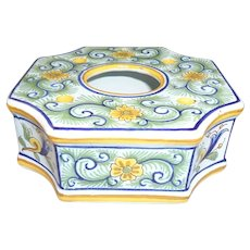 19th Century French Faience Inkwell, Sinceny or Strasbourg