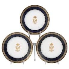 Set (3) 19th Century Sevres Napoleon Imperial Crest Cobalt Blue & Gilt Plates, circa 1805