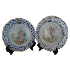 "Gorgeous Pair Henriot Quimper Plates with ""Decor Riche"" Borders, circa 1935"