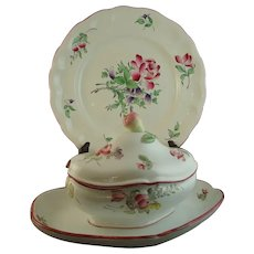 Vintage French Faience Keller Guerin Luneville Covered Tureen plus Dinner Plate