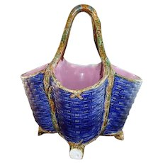 Gorgeous George Jones Cobalt Majolica Basket