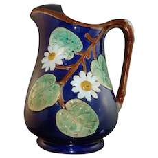 Beautiful Holdcroft Majolica Cobalt Pond Lily Daisy Pitcher