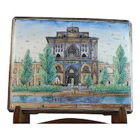 Vintage Signed Persian Silver and Enamel Cigarette or Card Case - Ali Qapu Palace