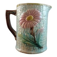 Antique English Majolica Aster on Turquoise Ground Cream Jug