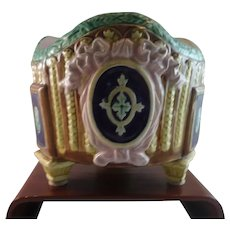 Antique British Majolica Jardiniere with Cobalt Medallions