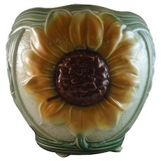 Antique British Majolica Sunflower Jardiniere