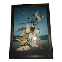 Vintage Chinese Reverse Glass Painting of Immortals, Shou Lao & Magu