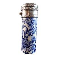 19th Century 1879 Flow Blue Porcelain & Sterling Scent Bottle