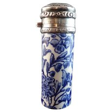 19th Century 1879 Flow Blue Porcelain & Sterling Scent Bottle