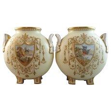 Gorgeous Pair 19th Century Hand Painted Coalport Moon Flasks Vases
