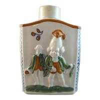 18th Century Pratt Ware Tea Canister with Macaroni Figures