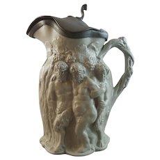 "Minton Light Green Stoneware ""Silenus"" Bacchus Jug, circa 1831"