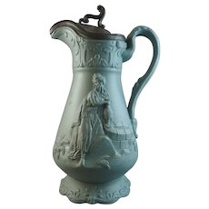 19th Century Samuel Alcock Stoneware Relief-Moulded Jug - Arabic