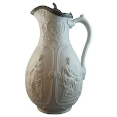 19th Century Wm Brownfield Stoneware Relief-Moulded Jug - International
