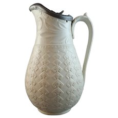 19th Century William Dudson Relief-Moulded Jug, Argyle Pattern