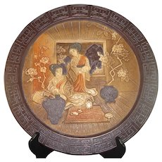 Magnificent Bretby England Art Pottery Charger with Japanese Theme, circa 1895