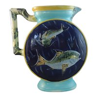 Stunning Joseph Holdcroft Majolica Fish Pitcher, dated June 7, 1877