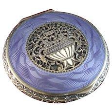 Beautiful Austrian Sterling Silver, Purple Guilloche Enamel Compact