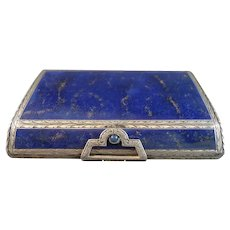 Italian Lapis Lazuli and Silver Snuff Box with Jewel Closure
