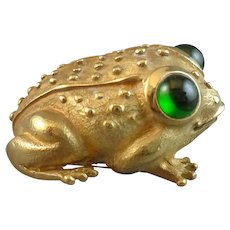 18K Gold Frog Brooch with Tourmaline Eyes