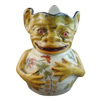 19th Century French Faience Gargoyle Pitcher, Nevers