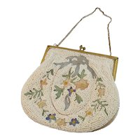 Vintage French Beaded Embroidered Evening Purse