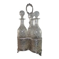 English Tantalus Set with 3 Cut Crystal Decanters